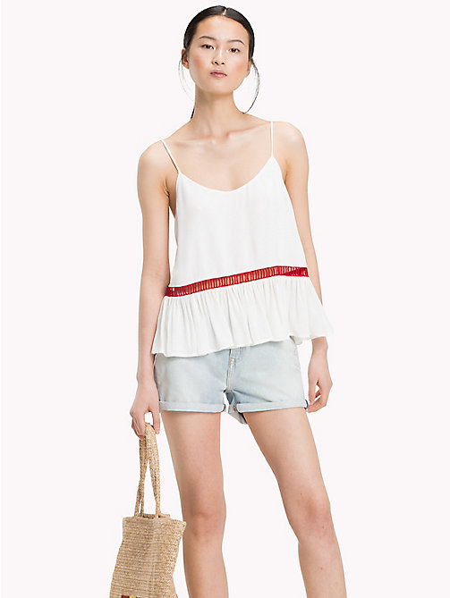 TOMMY HILFIGER Contrast Ladder Detail Strappy Top - SNOW WHITE - TOMMY HILFIGER Vacation Style - main image