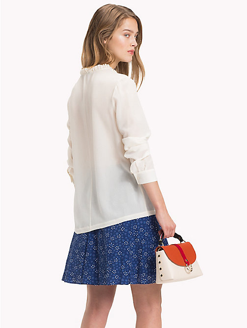 TOMMY HILFIGER Colour-blocked zijden blouse - SNOW WHITE - TOMMY HILFIGER Blouses - detail image 1