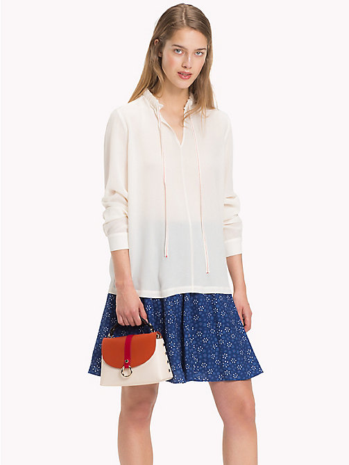 TOMMY HILFIGER Colour-Blocked Silk Blouse - SNOW WHITE - TOMMY HILFIGER Blouses - main image
