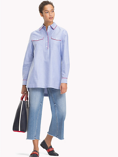 TOMMY HILFIGER Scalloped Cotton Tunic - SHIRT BLUE - TOMMY HILFIGER Tops - main image