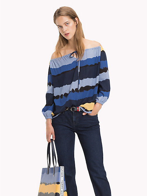 TOMMY HILFIGER Off-shouldertop - TIE DYE STP / SKY CAPTAIN -  NIEUW - main image