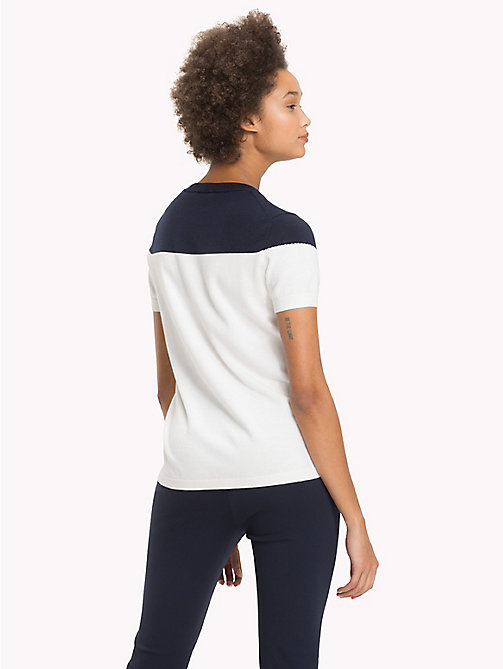 TOMMY HILFIGER Ladder Detail Cotton T-Shirt - SNOW WHITE / MIDNIGHT - TOMMY HILFIGER Sustainable Evolution - detail image 1