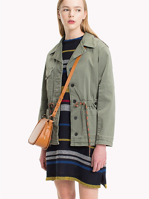 TOMMY HILFIGER Stretch Cotton Drawstring Waist Jacket - FOUR LEAF CLOVER - TOMMY HILFIGER NEW IN - main image