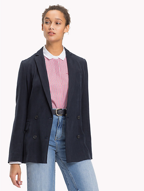 TOMMY HILFIGER Double Breasted Silk Lyocell Blazer - MIDNIGHT - TOMMY HILFIGER Blazers - main image