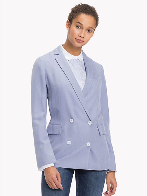 TOMMY HILFIGER Double Breasted Silk Lyocell Blazer - EVENTIDE -  Blazers - main image