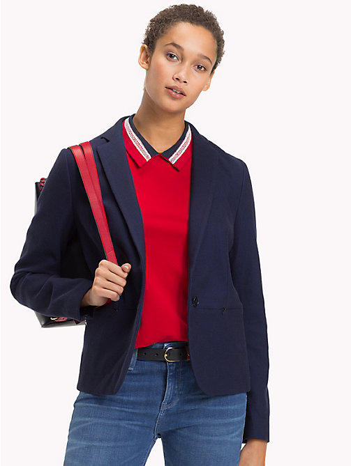 TOMMY HILFIGER Single Breasted Stretch Cotton Blazer - MIDNIGHT -  Blazers - main image