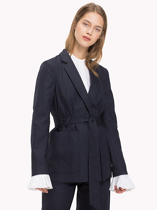 TOMMY HILFIGER All Over Stripe Belted Blazer - MIDNIGHT - TOMMY HILFIGER Clothing - main image