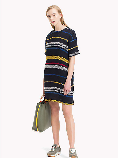 TOMMY HILFIGER Striped Mesh T-Shirt Dress - ETHNIC STP / SKY CAPTAIN - TOMMY HILFIGER Dresses & Skirts - main image