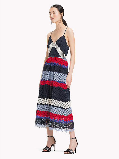 TOMMY HILFIGER Entredeux Lace Midi Dress - LACE TIE DYE STP / SKY CAPTAIN - TOMMY HILFIGER Dresses & Skirts - main image