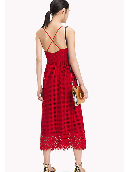 TOMMY HILFIGER Entredeux Lace Midi Dress - POMPEIAN RED - TOMMY HILFIGER Occasion wear - detail image 1