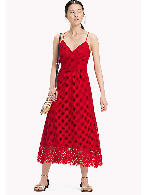 TOMMY HILFIGER Entredeux Lace Midi Dress - POMPEIAN RED - TOMMY HILFIGER Occasion wear - main image