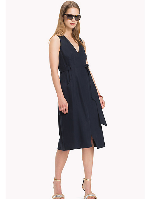 TOMMY HILFIGER V-Neck Wrap Around Dress - MIDNIGHT - TOMMY HILFIGER Midi - main image