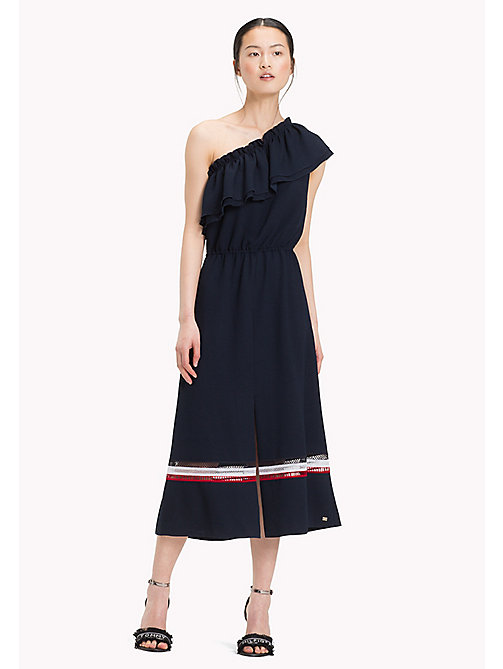 TOMMY HILFIGER Signature Mesh One Shoulder Dress - MIDNIGHT - TOMMY HILFIGER Midi - main image