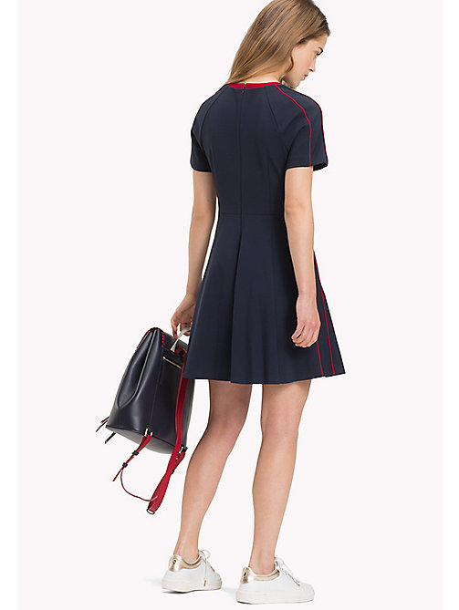 TOMMY HILFIGER Contrast Piping Short Sleeve Skater Dress - MIDNIGHT - TOMMY HILFIGER Vacation Style - detail image 1