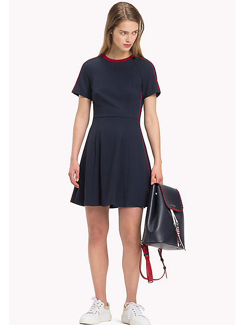 TOMMY HILFIGER Contrast Piping Short Sleeve Skater Dress - MIDNIGHT - TOMMY HILFIGER Vacation Style - main image