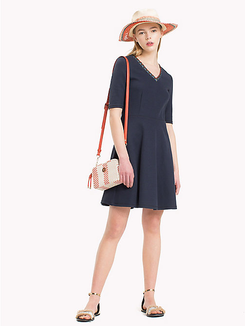 TOMMY HILFIGER Contrast Neckline Skater Dress - MIDNIGHT - TOMMY HILFIGER Dresses & Skirts - main image