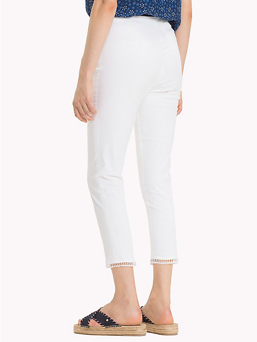 TOMMY HILFIGER Cotton Twill Cropped Trousers - CLASSIC WHITE - TOMMY HILFIGER Cropped Trousers - detail image 1
