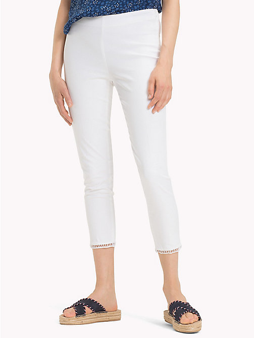 TOMMY HILFIGER Cotton Twill Cropped Trousers - CLASSIC WHITE - TOMMY HILFIGER Cropped Trousers - main image