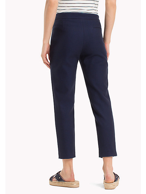 TOMMY HILFIGER Twist Cotton Ankle Length Trousers - MIDNIGHT - TOMMY HILFIGER Cropped Trousers - detail image 1