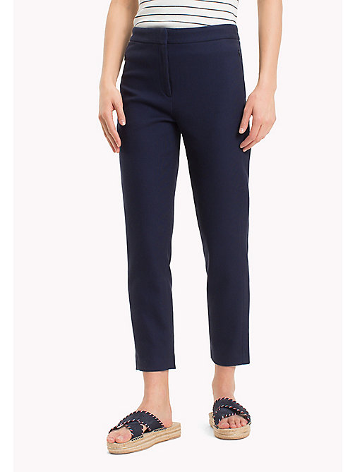 TOMMY HILFIGER Twist Cotton Ankle Length Trousers - MIDNIGHT - TOMMY HILFIGER Cropped Trousers - main image
