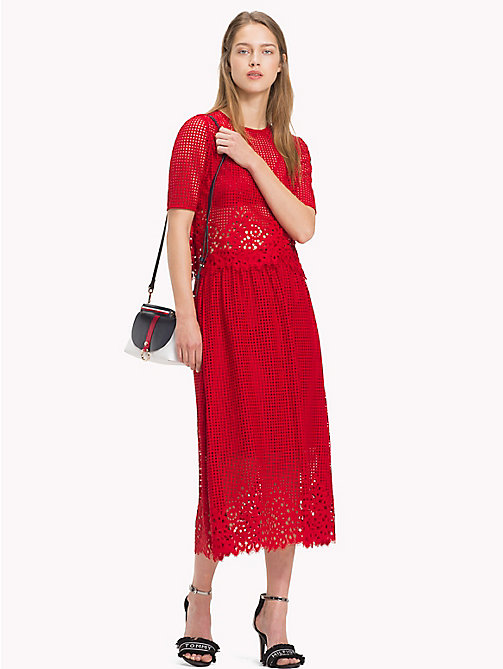 TOMMY HILFIGER Entredeux Lace Midi Skirt - POMPEIAN RED - TOMMY HILFIGER Tommy Days Women - main image