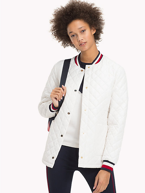 TOMMY HILFIGER Signature Stripe Padded Bomber Jacket - SNOW WHITE - TOMMY HILFIGER Coats & Jackets - main image