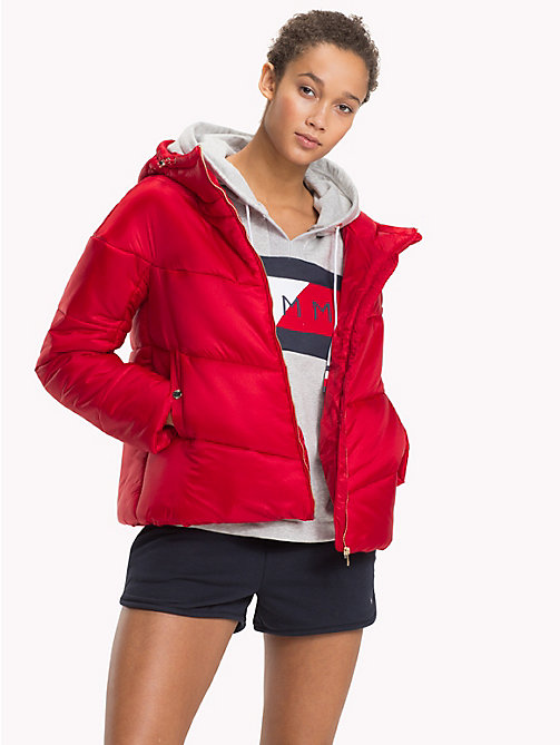 TOMMY HILFIGER Hooded Puffer Jacket - POMPEIAN RED - TOMMY HILFIGER Tommy Days Women - main image