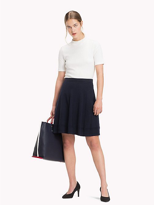 TOMMY HILFIGER Organic Cotton Ladder Skirt - MIDNIGHT - TOMMY HILFIGER Sustainable Evolution - main image