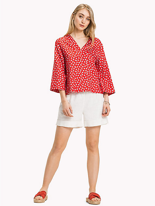 TOMMY HILFIGER Classic V-Neck Loose Blouse - MINI LEAF PRT / FIESTA - TOMMY HILFIGER Clothing - main image