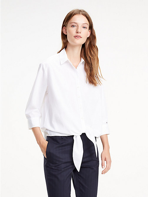 TOMMY HILFIGER Blusa con nudo - CLASSIC WHITE - TOMMY HILFIGER Tommy Days Mujer - imagen principal