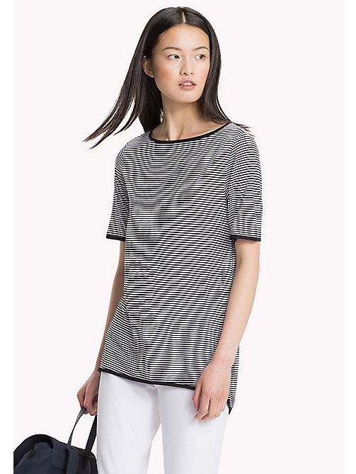 TOMMY HILFIGER Stripe Slash Neck Top - BLACK BEAUTY / CLASSIC WHITE STP - TOMMY HILFIGER Vacation Style - main image