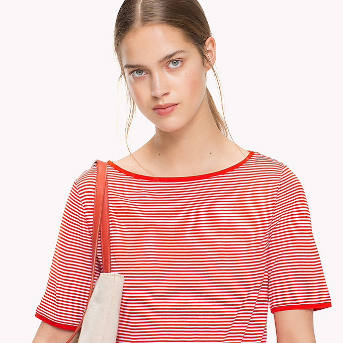 TOMMY HILFIGER Stripe Slash Neck Top - BLACK BEAUTY / CLASSIC WHITE STP - TOMMY HILFIGER Women - detail image 2