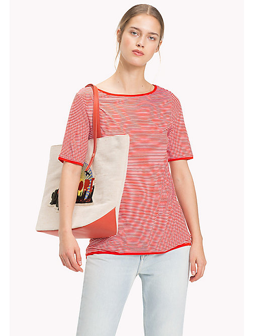TOMMY HILFIGER Stripe Slash Neck Top - FIESTA / CLASSIC WHITE STP - TOMMY HILFIGER NEW IN - main image