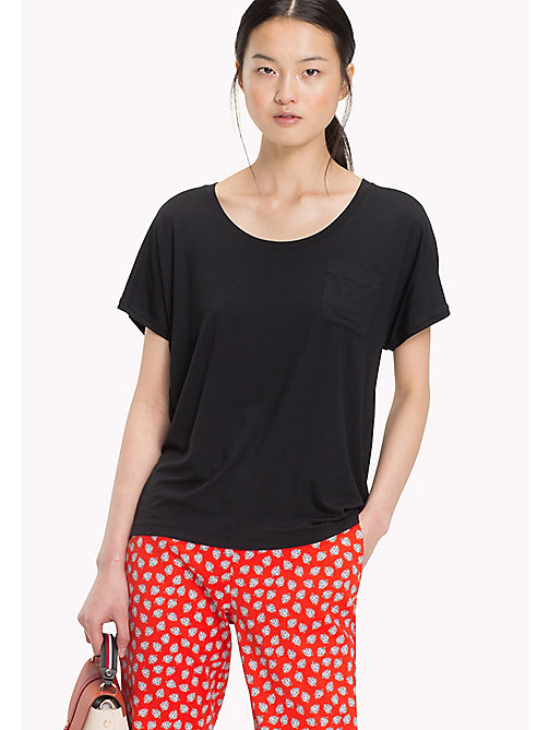 TOMMY HILFIGER DRASER SCOOP-NK TOP SS - BLACK BEAUTY - TOMMY HILFIGER Футболки - главное изображение