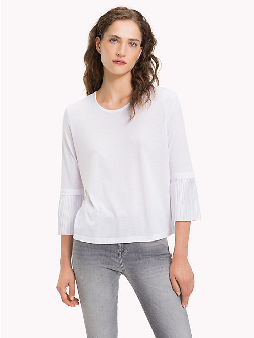 TOMMY HILFIGER Flared Pleated Cuff Long Sleeve Top - CLASSIC WHITE - TOMMY HILFIGER Tops - main image