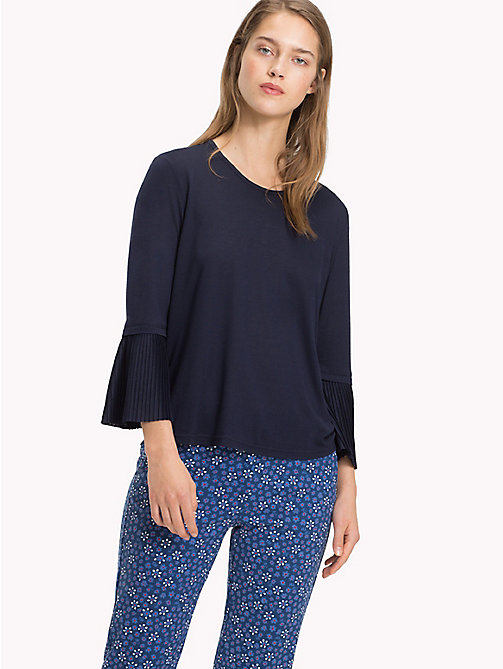 TOMMY HILFIGER Flared Pleated Cuff Long Sleeve Top - MIDNIGHT - TOMMY HILFIGER Tops - main image