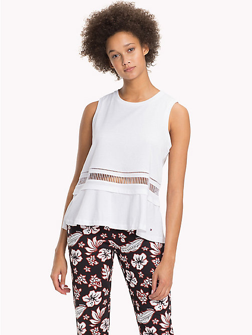 TOMMY HILFIGER Flared Cutout Waist Tank Top - CLASSIC WHITE - TOMMY HILFIGER Vacation Style - main image