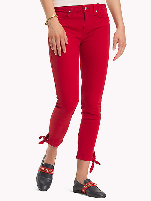 TOMMY HILFIGER Ankle Bow Super Slim Jeans - POMPEIAN RED - TOMMY HILFIGER Skinny Jeans - main image