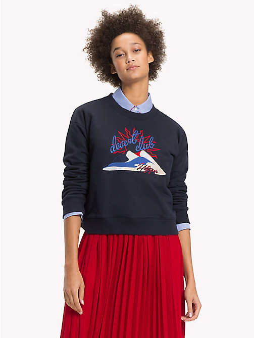 TOMMY HILFIGER Tommy Hilfiger Desert Club Embroidered Sweatshirt - MIDNIGHT - TOMMY HILFIGER VACATION FOR HER - main image