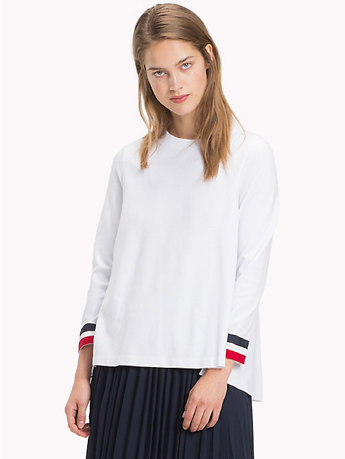 TOMMY HILFIGER Signature Stripe Cuff Long Sleeve Sweatshirt - CLASSIC WHITE - TOMMY HILFIGER Sweatshirts - main image