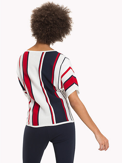 TOMMY HILFIGER Stripe Batwing T-Shirt - SNOW WHITE / MIDNIGHT / POMPEIAN RED - TOMMY HILFIGER Jumpers - detail image 1