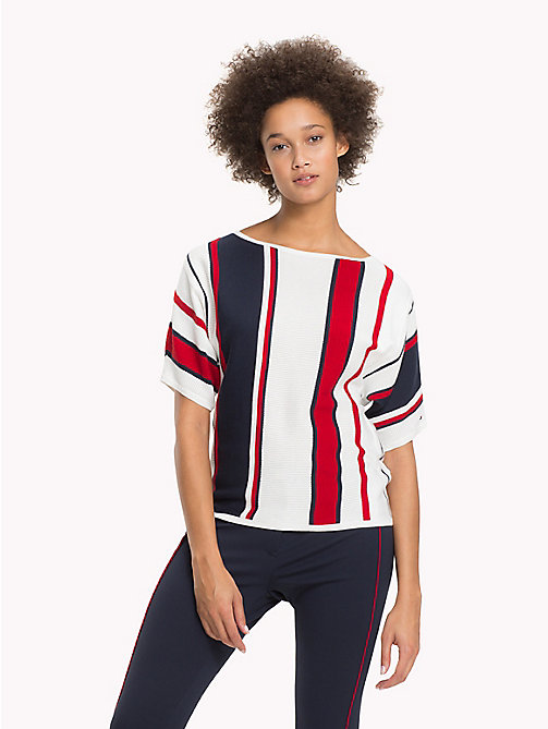TOMMY HILFIGER Stripe Batwing T-Shirt - SNOW WHITE / MIDNIGHT / POMPEIAN RED - TOMMY HILFIGER Jumpers - main image