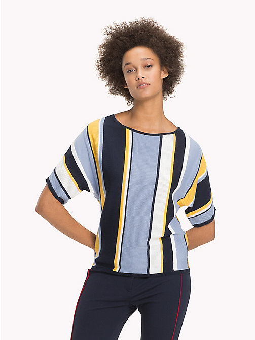 TOMMY HILFIGER Stripe Batwing T-Shirt - MIDNIGHT / EVENTIDE / SAMOAN SUN STP - TOMMY HILFIGER NEW IN - main image