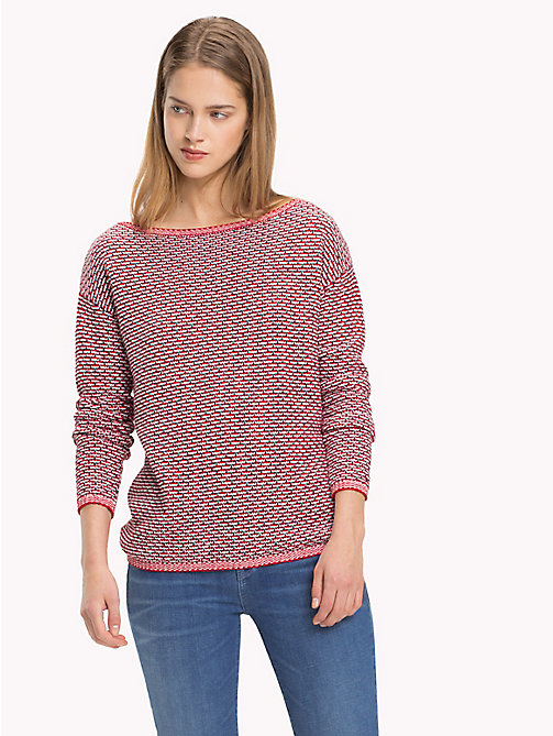 TOMMY HILFIGER Pure Cotton Sweatshirt - SNOW WHITE / POMPEIAN RED / MIDNIGHT - TOMMY HILFIGER Jumpers - main image
