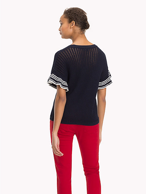 TOMMY HILFIGER Stricktop mit gerüschten Ärmeln - MIDNIGHT - TOMMY HILFIGER Sustainable Evolution - main image 1