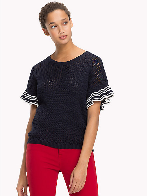 TOMMY HILFIGER Ruffle Sleeve Knitted Top - MIDNIGHT - TOMMY HILFIGER Sustainable Evolution - main image