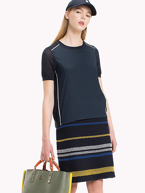 TOMMY HILFIGER Mixed Fabric T-Shirt - MIDNIGHT - TOMMY HILFIGER Sweatshirts & Knitwear - main image