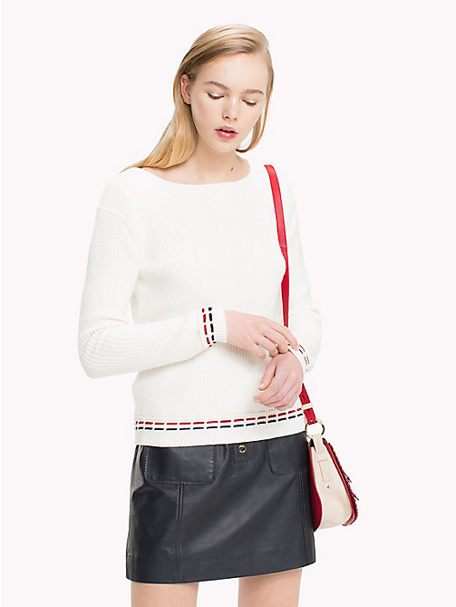 TOMMY HILFIGER Deconstructed Stitch Jumper - SNOW WHITE - TOMMY HILFIGER Jumpers - main image