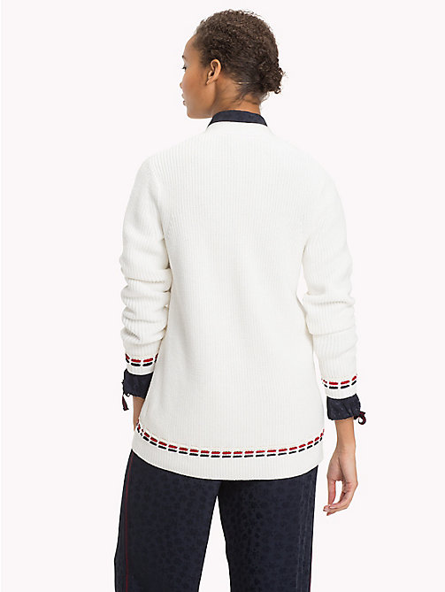 TOMMY HILFIGER Oversized Stitching Wool Blend Cardigan - SNOW WHITE - TOMMY HILFIGER Clothing - detail image 1