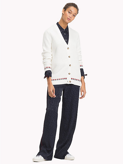 TOMMY HILFIGER Oversized Stitching Wool Blend Cardigan - SNOW WHITE - TOMMY HILFIGER Clothing - main image